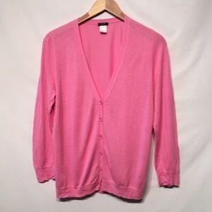 J. Crew Pink Cotton Lightweight Cardigan Like New